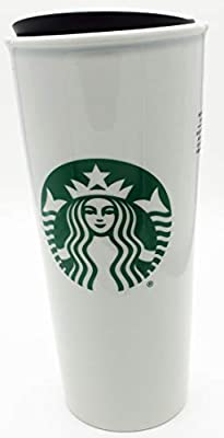 Starbucks Travel Cup With Green Siren Logo On White Ceramic