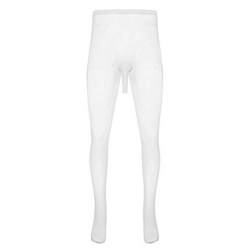 iixpin Herren Mesh Strumpfhose Männer Nylon Stockings Netzstrumpfhose Pantyhose Dessous-Stützstrumpfhose Unterhose Einheitsgröße Weiß Typ B One Size