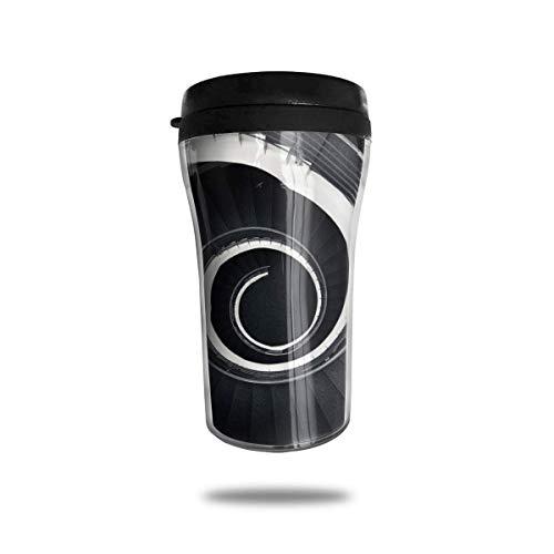 Taza de café de viaje con escalera espiral Taza de vacío portátil impresa, vasos de botella de agua con taza de té aislada para beber con tapa