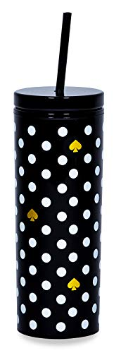Kate Spade New York Insulated Tumbler with Reusable Silicone Straw Black 20 Ounce Acrylic Travel Cup with Lid Polka Dots