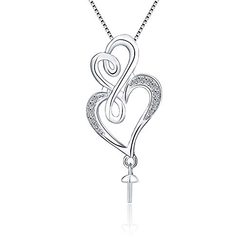 NY Jewelry 925 Sterling Silver CZ Double Heart Pendants for Pearl, Pearl Pendant Accessories/Fitting/Mounts with Pearl Bead Bail Pin for Women Jewelry Making
