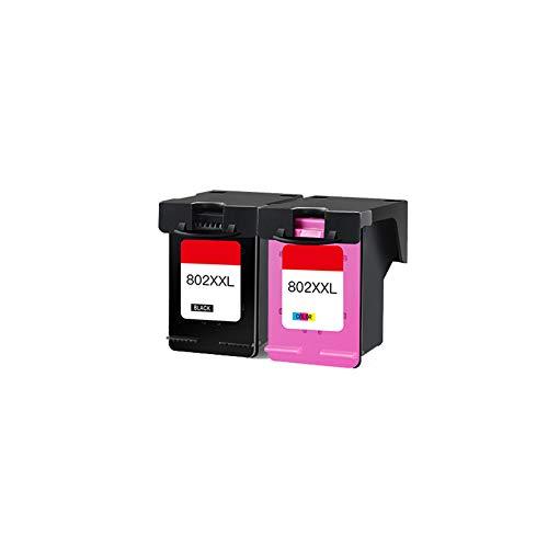 GYBN Cartucho de Tinta de Gran Capacidad de Color de Tinta, para Cartucho de Tinta HP 802, para Impresora HP 1050 1510 1010 1050 Cartucho de Tinta HP deskjet 1000 802XL Negro 1011 1101 2050-2-set