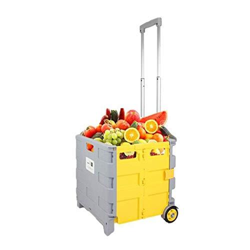 Carro de la compra plegable con ruedas Carrito plegable plegable liviano para comestibles con cajón con tapa para el archivo Oficina Viajes, Tamaño plegable: 38 * 3.6 cm, carro de almacenamiento plega 🔥