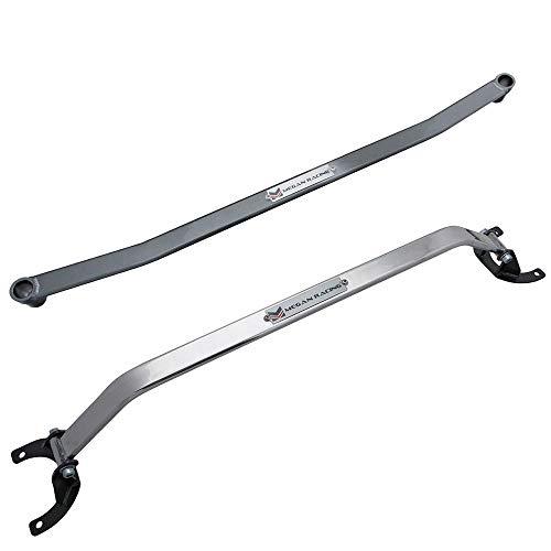 Megan Racing Front & Rear Upper Tower Brace Strut Bar (Steel/Aluminum Polish) Works with 1990-2005 Mazda Miata