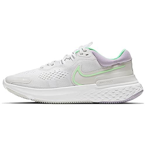 Nike Wmns React Miler 2, Running Donna, Platinum Tint Green Glow White, 42.5 EU