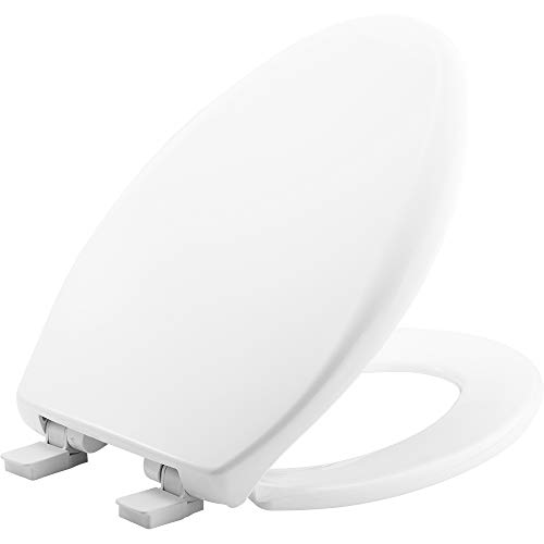 MAYFAIR 1887SLOW 000 Toilet Seat will Slow Close, Never Loosen and Easily Remove, ELONGATED, Long Lasting Solid Plastic, White