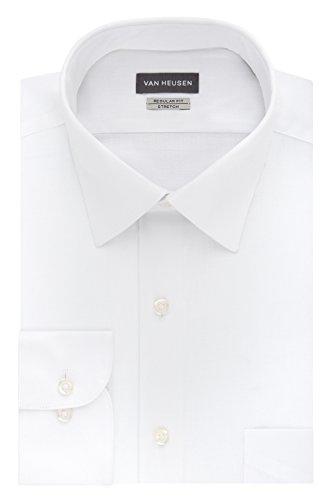 Van Heusen Men's Dress Shirts Regular Fit Lux Sateen Stretch Solid, White, 16' Neck 34'-35' Sleeve (Large)