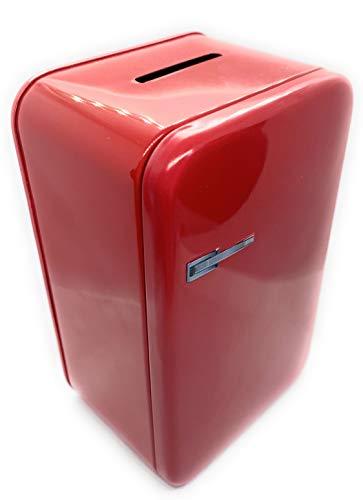Perfekto24 Spardose im Retro Kühlschrank Design - Rote Sparbüchse - Weißblechdose 8,6 x 6,5 x 14 cm