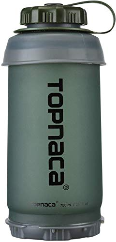 Topnaca Botella de Agua Plegable, 750ml BPA Libre Ligero Compacto para Acampar Mochila Senderismo Escalada Viajes Actividades al Aire Libre