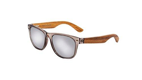 Rainbow Safety - Gafas de sol polarizadas con espejo de madera vintage para mujer y hombre