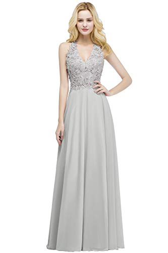 MisShow Ballkleid Abendkleid Lang Ärmellos Perlenstickerei Applique Chiffon Abschlusskleid, Silber, 32
