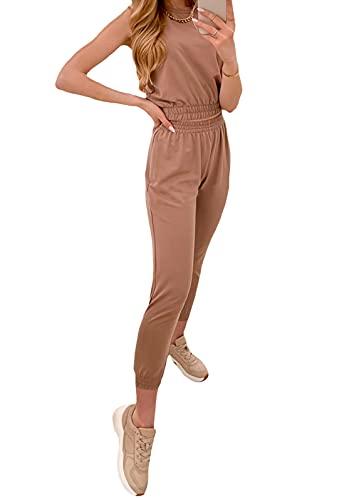 Loalirando Conjunto de 2 piezas para mujer y niña, elegante camiseta sin mangas + pantalones cortos de cintura alta, para yoga, carreras, casual, fitness marrón L