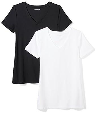 Amazon Essentials Women's 2-Pack Classic-Fit Short-Sleeve V-Neck T-Shirt, Black/White, Medium