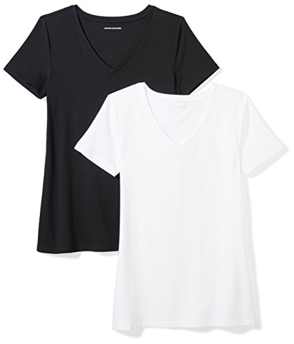 Amazon Essentials Damen-T-Shirt, klassisch, kurzärmlig, V-Ausschnitt, 2er-Pack, black/white, X-Large