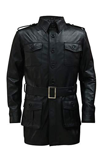 H&A Collections - Chaqueta de cuero para hombre, color negro