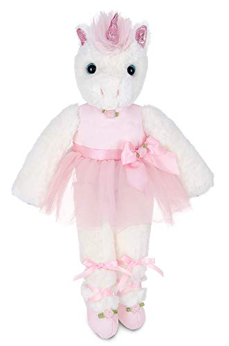 Bearington Dreamer White Plush Unicorn Stuffed Animal Ballerina in Pink Ballet Outfit, 14 Inches