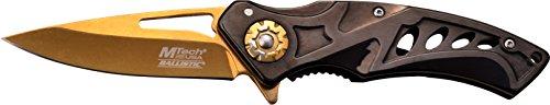 MTech USA Taschenmesser MT-A917 Serie, Messer DESIGNER LOCH OPTIK Griff, SCHWARZ/ GOLD Design, scharfes Jagdmesser, Outdoormesser 6,99 cm ROSTFREI Klinge, Klappmesser für Angeln/ Jagd