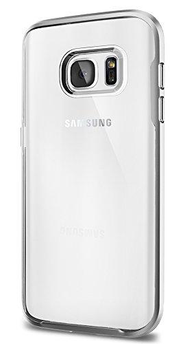 Samsung Galaxy S7 Hülle, Spigen® [Neo Hybrid Crystal] Dual-Layer Schutzrahmen [Satin Silber] Metallisierte tasten / Durchsichtige TPU Schale + PC Farbenrahmen Schutzhülle für Samsung S7 Case, Samsung S7 Cover - Satin Silver (555CS20021)