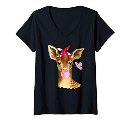 Damen Baby Reh Rehkitz Kaugummi Haarband Tierliebhaber Waldtier T-Shirt mit V-Ausschnitt