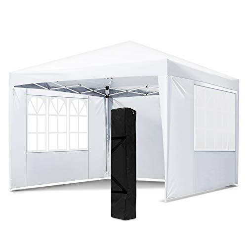 OKVAC 10x10 FT Pop Up Canopy Tent, Portable Commercial Instant Shelter, Adjustable Height Outdoor Event Gazebos with 4 Removable Sidewalls and Carry Bag, for Wedding, Beach, Party, Picnic (White)