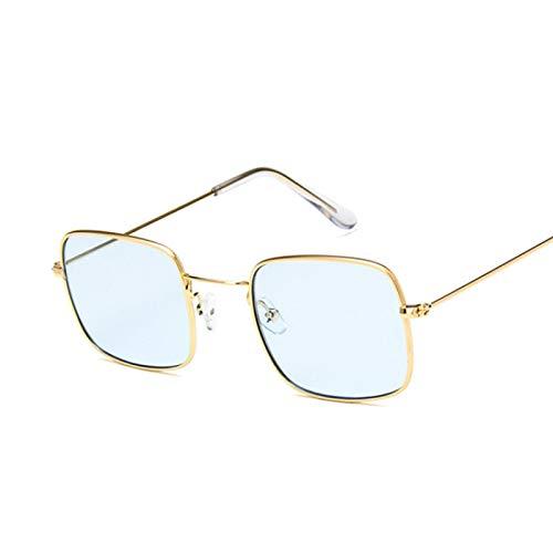 YOULIER Gafas de sol cuadradas para mujer con visera de sol, color azul dorado