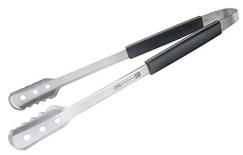FMprofessional Mehrzweckzange BBQ, Küchen- und Grillzange aus Edelstahl, hitzebeständige Servierzange (Farbe: Schwarz/Silber) Menge: 1 Stück