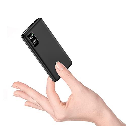 RUIPU モバイルバッテリー 10000mAh 大容量 PD 22.5W 【QC3.0搭載/USB-A+Type-C入出力ポート】 薄型&軽量 PSE技術基準適合 急速充電器 3台同時充電 パススルー機能 LCD残量表示 携帯充電器 iPhone/iPad/Android各種対応 (ブラック)