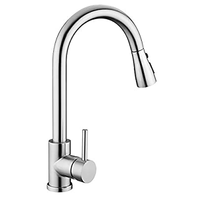 Kitchen Sink Faucet, Kitchen Faucet Stainless Steel with Pull Down Sprayer Brushed Nickel Commercial Modern High arc Single Handle Single Hole Pull Out Kitchen Faucets for Bar Laundry rv Utility Sink from whisper08