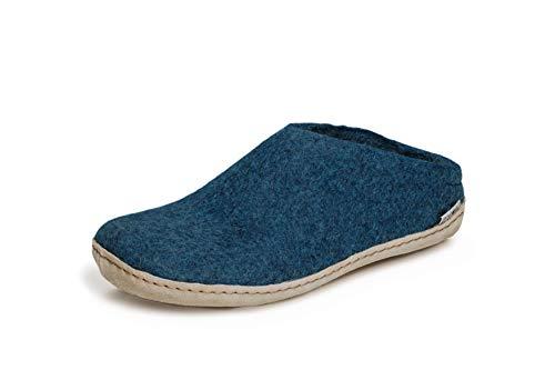 glerups dk B Slipper Unisex - Erwachsene Filz-Slipper, Damen,Herren Huettenschuhe,Filz-Schuhe,Filz-Pantoffel,Pantoletten,Puschen Blau, 43 EU / 9 UK