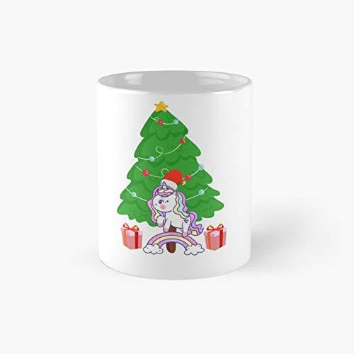 Taza clásica con diseño de unicornio, ideal para regalo de Navidad, diseño de arcoíris, ideal como regalo de árbol.