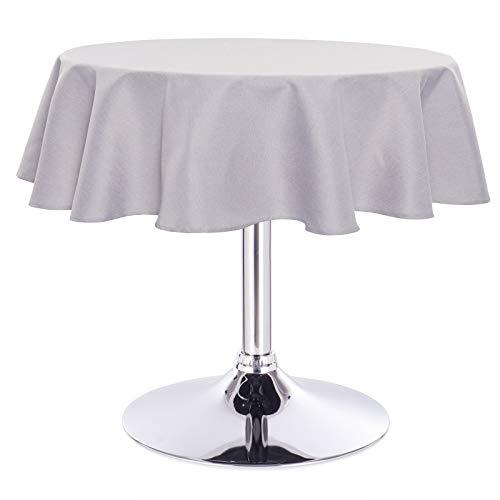 Laneetal 0800066 Tischdecke Leinendecke Leinenoptik Wasserabweisend Lotuseffekt Tischtuch Fleckschutz pflegeleicht abwaschbar schmutzabweisend Rund 140 cm Hellgrau