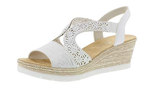 Rieker 61916 Femme Sandales compensées,Chaussures d'été,Confortable,Plat,weiss-silber/weiss/80,39 EU / 6 UK