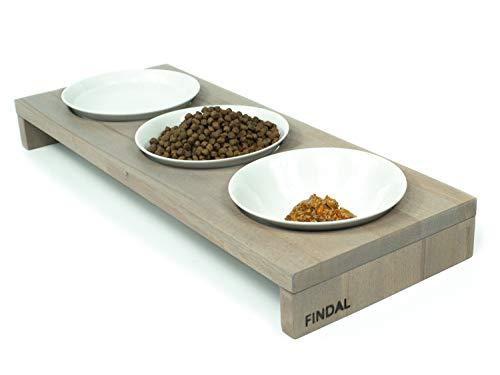 FINDAL - Katzennapf 3er Set gebeizte Buche in Grau, Holz Katzen Futternapf mit 3 weißen Keramik Schüsseln, Napfset für Katze erhöht, Fressnapf spülmaschinenfest für Trockenfutter, Nassfutter & Wasser