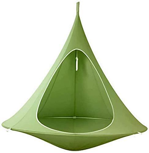 Generic Hamaca Silla de hamaca cónica, para camping, tienda de campaña, para colgar en el árbol, para adultos, personas mayores, para uso en interiores y exteriores (verde)