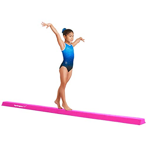 Springee 10ft Balance Beam - Extra Firm - Suede Folding Gymnastics Beam for Home - Pink