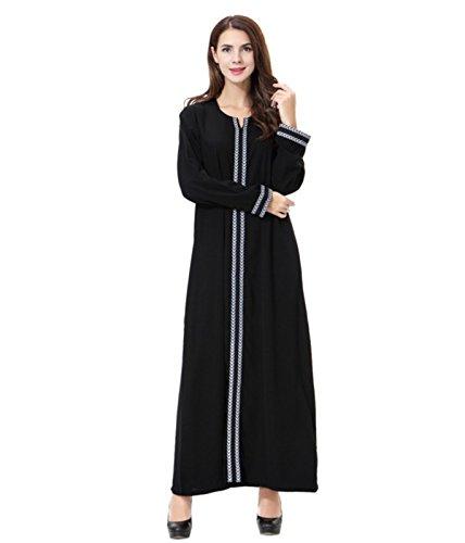 Dreamskull Damen Frauen Muslim Abaya Dubai Muslimische Kleid Kleidung Winter Kleider Arab Arabisch Indien Türkisch Casual Abendkleid Hochzeit Kaftan Robe Maxikleid S-3XL (Grau, XL)