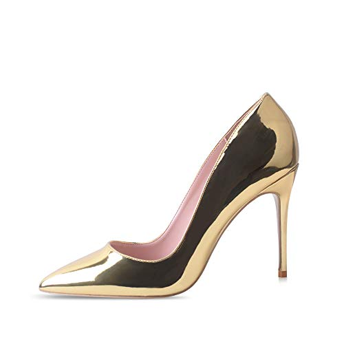 High Heels, Women Pumps Shoes 3.94 inch/10cm Pointed Toe Stiletto Sexy Prom Club Heels GD 11 Gold