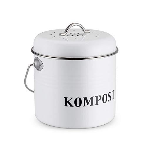 JUNJP Bauernhaus Küche Kompostbehälter, Countertop Recycling Caddy mit Kohlefilter, Vintage Indoor Scraps Kompost Eimer mit Tragegriff, leicht zu reinigen