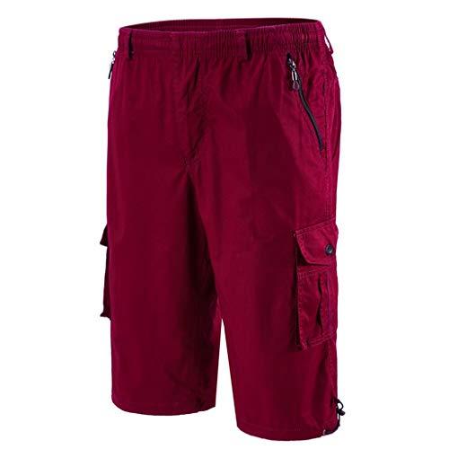 SCHOLIEBEN Homme Shorts Cargo Pantacourt Coton Multi Poches Loisirs Short Casual Eté(Red,XXXXXXL)