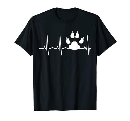 Hund Heartbeat Shirt für Hundefreunde Hundepfoten Track Tee