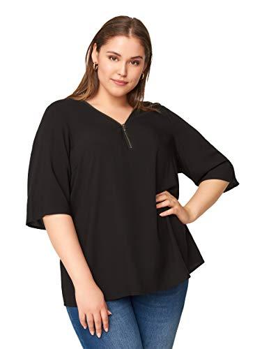 Zizzi Damen Große Größen Kurzarm Viskose Bluse mit V Ausschnitt Gr 42-56