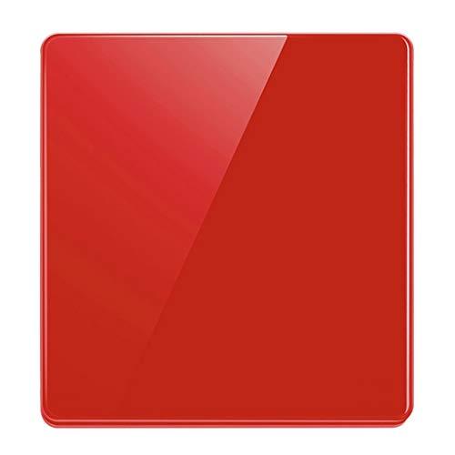 FSJKZX Interruptor De Luz Decoración del Hogar Vidrio Rojo Tipo 86 Enchufe De Interruptor De Panel Grande Interruptor De 2 Vías De Control Dual De Pared (Color : Red, Size : 1)
