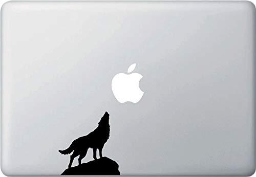 Tra56owe Calcomanía de vinilo para computadora portátil de Wolf and Apple Moon, MacBook (3 pulgadas de ancho x 3.25 pulgadas de alto) (opciones de colores)