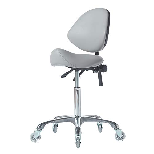 FRNIAMC Hydraulic Saddle Rolling Adjustable, Heavy-Duty (450 lbs) Stool Chair for Beauty Salon Massage Dental Clinic Home Office Use(Grey)