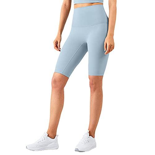 Damaifirstes Pantalones de yoga con cintura alta para mujer, sin línea de pánico, pantalones de deporte, azul claro, M