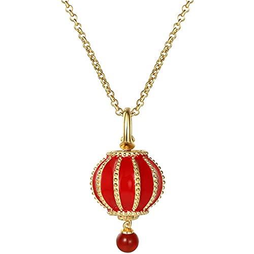 WFS Regalo Collar Lantern MAGADOR 925 Colgante Dorado de Plata esterlina Que Tiene una Foto de fama para Mujeres para Mujeres Joyas (Color : Red, tamaño : 61cm)