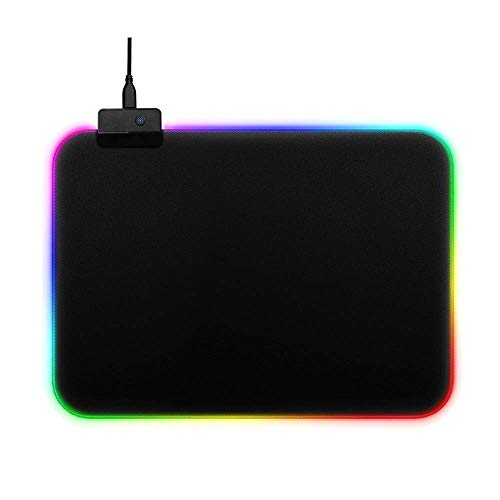 RGB Gaming Mouse Pad Large Color LED Lighting Wired USB 13.8 x 9.8 Inches Fans Logo Table Mat for Gamer