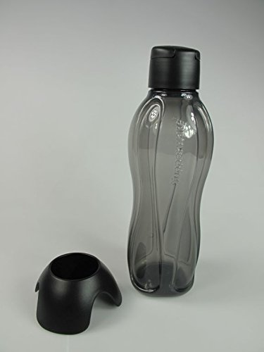 TUPPERWARE Eco To Go Eco 32541 - Botella de agua (1,0 L, con soporte para la cabeza), color negro
