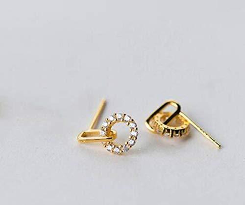 TYERY Pendientes de Plata S925, Pendientes Redondos Coreanos Femeninos con Diamantes, Pendientes Geométricos Entrelazadosoro, Plata 925
