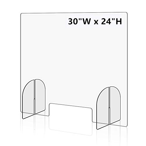Sneeze Guard for Desk, Plexiglass Shield for Desk Economy 32'Wx24'H Protective Freestanding Clear Acrylic Shield, Portable Plexiglass Desk Shield for Retail, Office, Countertop